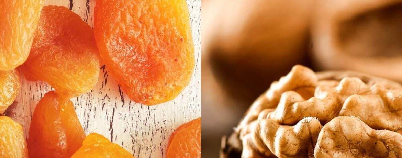 getrocknete Aprikose + Walnüsse