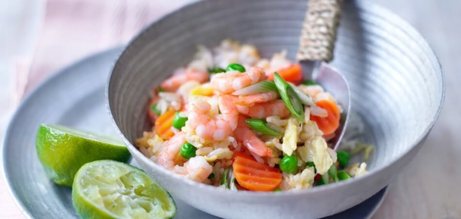 Gebratener Gemüse-Reis mit Garnelen