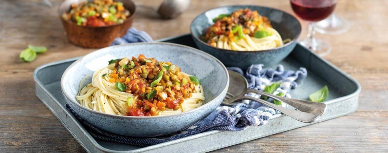 Spaghetti mit veganer Linsen-Bolognese