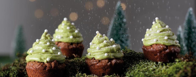 Tannenbaum-Cupcakes – Apfel-Zimt-Muffins mit grüner Creme