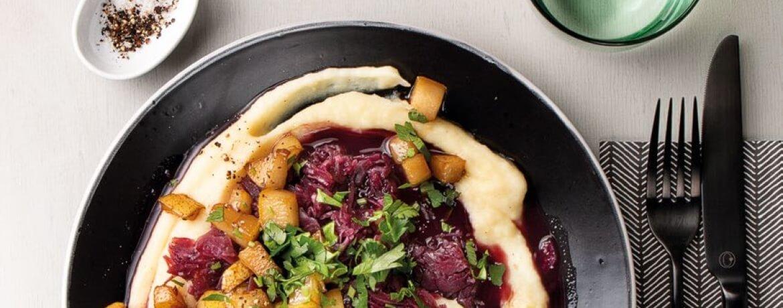 Pastinakenpüree mit Rotkohl und süßer Birne