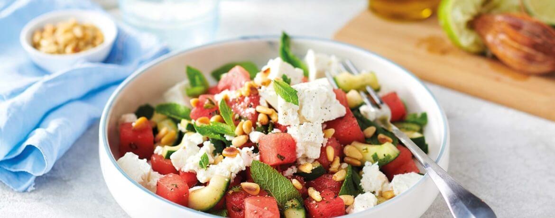 Wassermelone-Feta-Salat und Minze