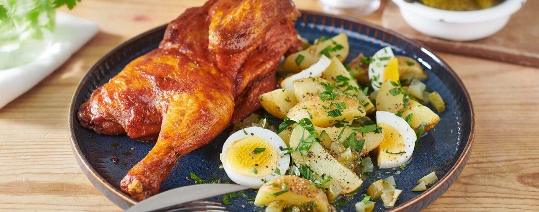 Brathähnchen mit rustikalem Kartoffelsalat