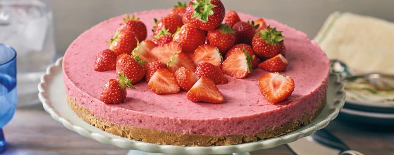 Laktosefreie Erdbeertorte ohne Backen