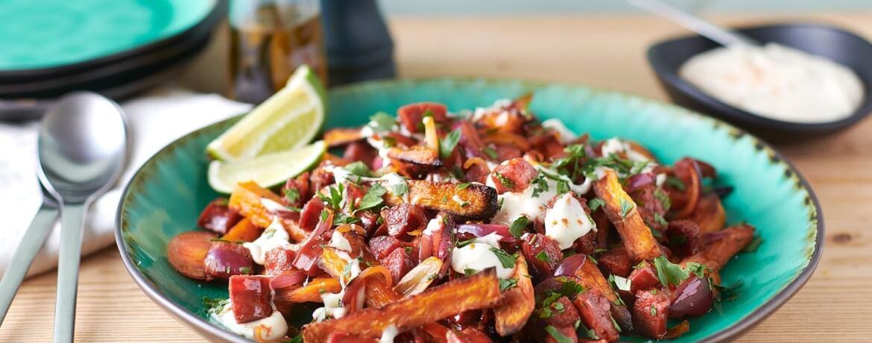 Gebackene Süßkartoffeln mit Chorizo und Aioli