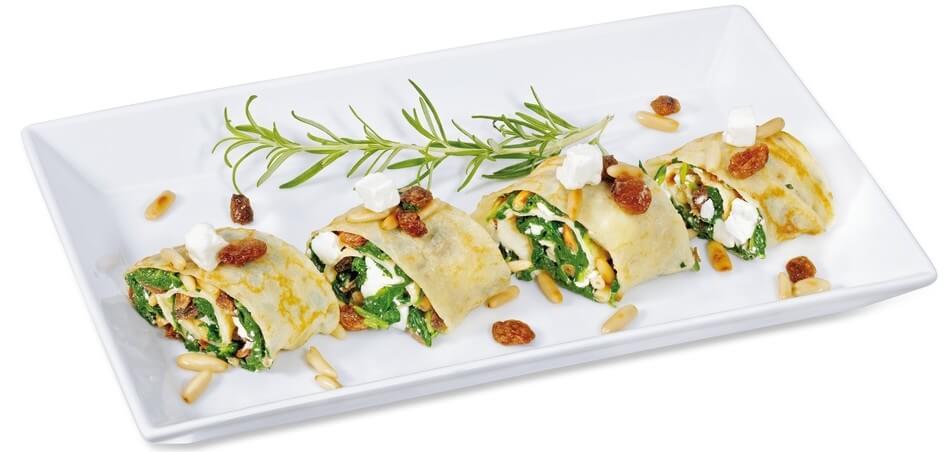 Pfannkuchen mit Spinat-Feta-Füllung
