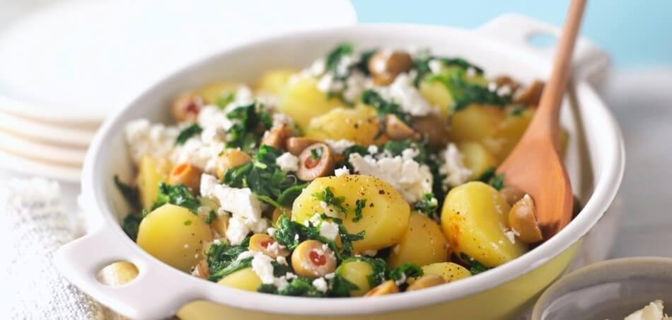 Kartoffelpfanne mit Spinat und Feta