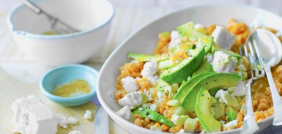 Linsen-Birnen-Salat mit Feta und Avocado
