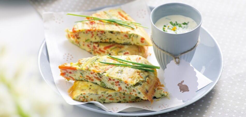 Frittataschnitten mit grünem Spargel