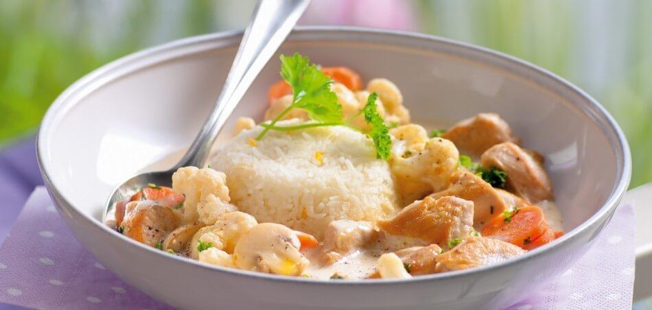 Hähnchen-Gemüse-Topf mit Reis
