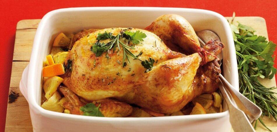 Rosmarin-Hähnchen mit Orangen und Kartoffeln