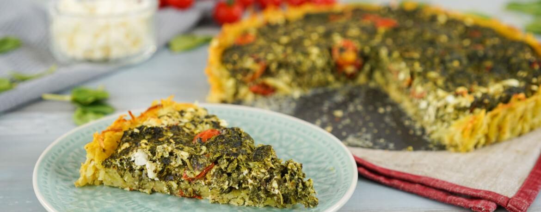 Spinat-Feta-Quiche mit Röstiboden