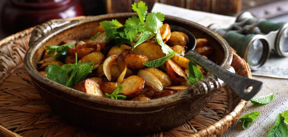 Kartoffeln und Auberginen aus dem Ofen