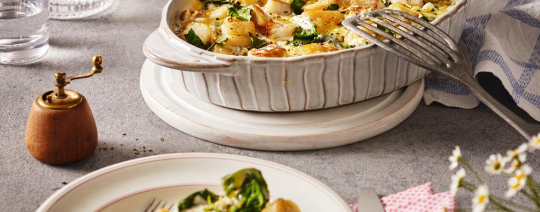 Seelachs-Spinat-Auflauf mit Kartoffeln