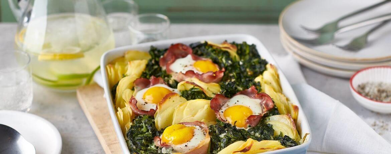 Kartoffel-Spinat-Auflauf mit Eiern