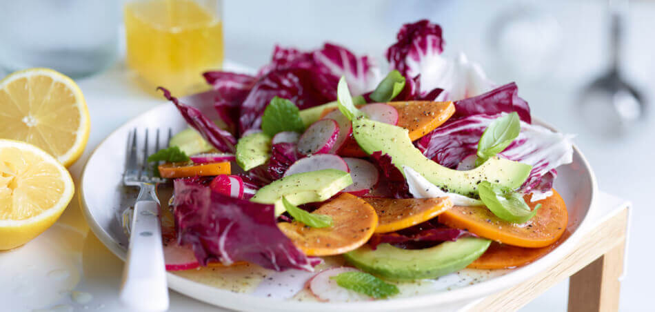 Kaki-Avocado-Salat mit Radicchio
