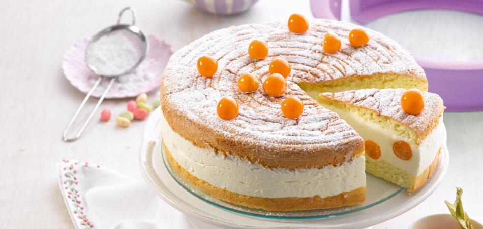 Quark-Sahne-Torte mit Physalis