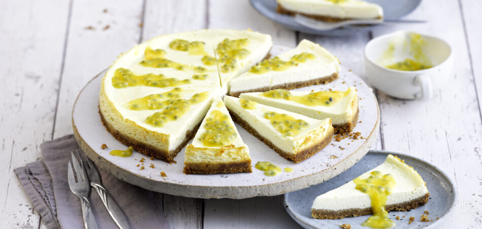 Pfirsich-Passionsfrucht-Cheesecake