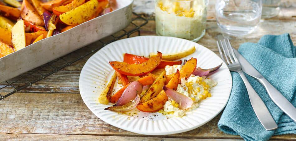 Winter-Ofengemüse mit Currydip