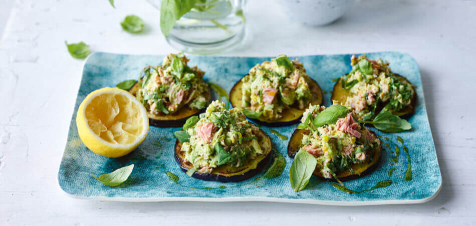 Aubergine mit Thunfisch-Avocado-Rillette