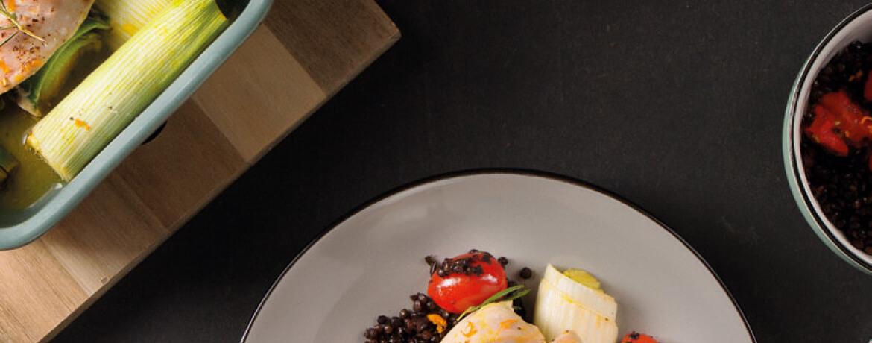 Hähnchen auf Lauch aus dem Ofen mit Linsen-Salat