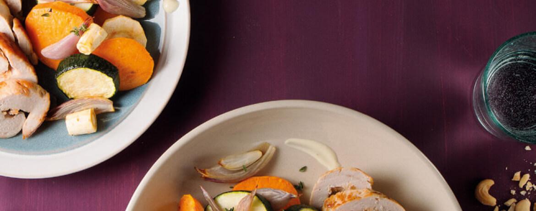Puteninvoltini mit Ofengemüse und Senfdip