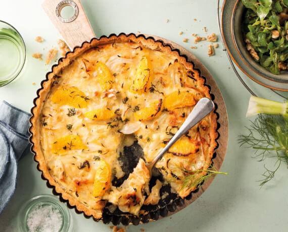 Fenchel-Orangen-Quiche mit Walnüssen