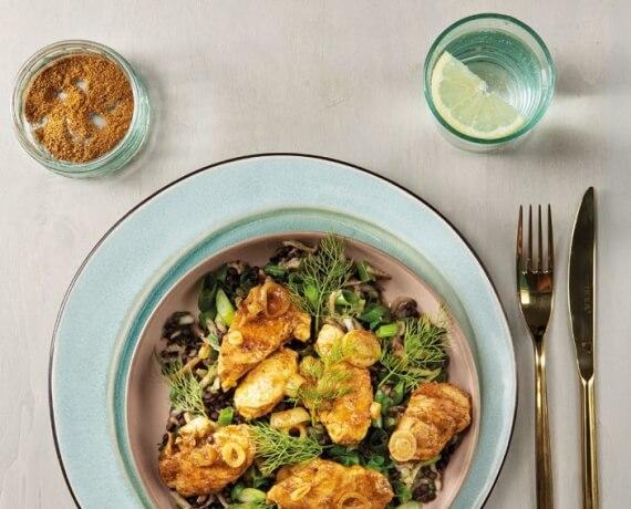 Fruchtiger Linsensalat mit Curry-Putenstreifen
