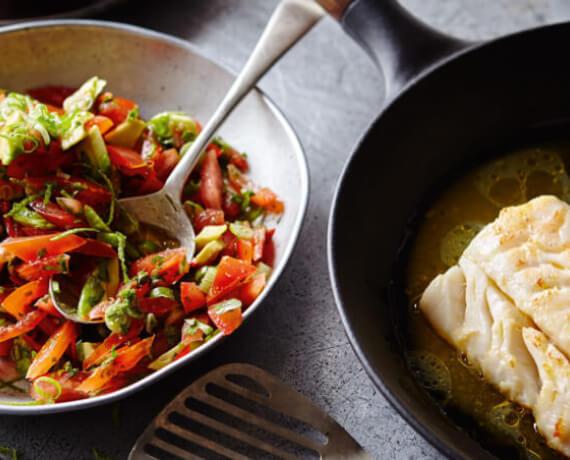 Kabeljau mit Tomaten-Paprika-Gemüse