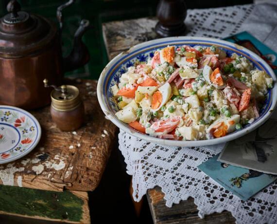 Karotten-Kartoffel-Salat mit Schinken