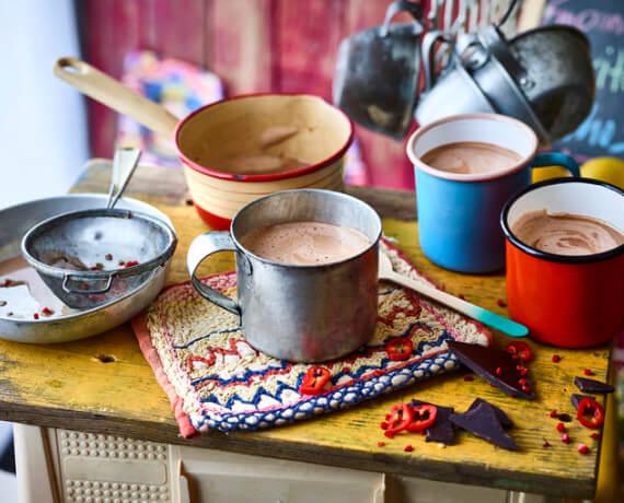 Heiße Chili-Schokolade mit Rum
