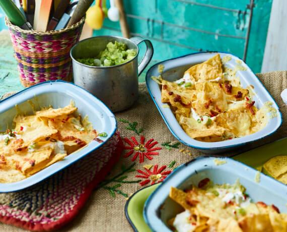 Überbackene Nachos mit Guacamole