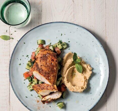 Arabisches Hähnchen mit Hummus und Taboulé