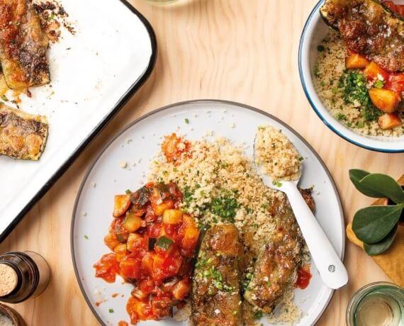 Gratinierte Zucchini mit Ratatouille und Couscous-Salat