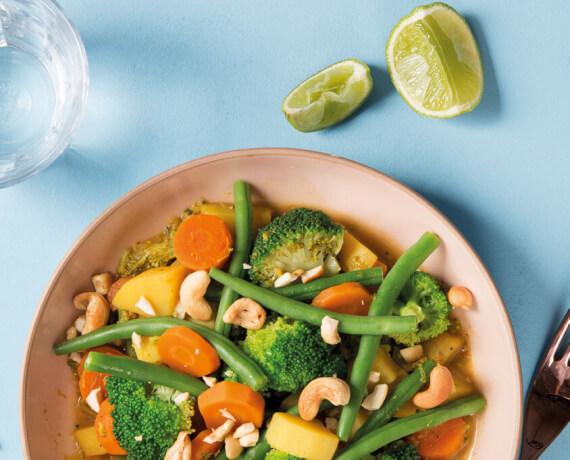 Brokkoli-Ingwer-Curry mit Kartoffeln und Busch-Bohnen
