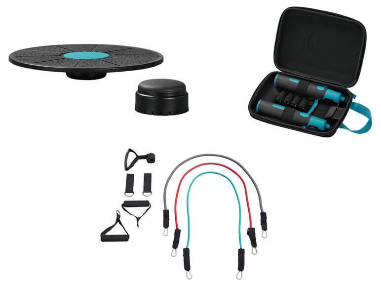 CRIVIT® Springseil mit Gewichten/ Balance-Board/ Expander Set